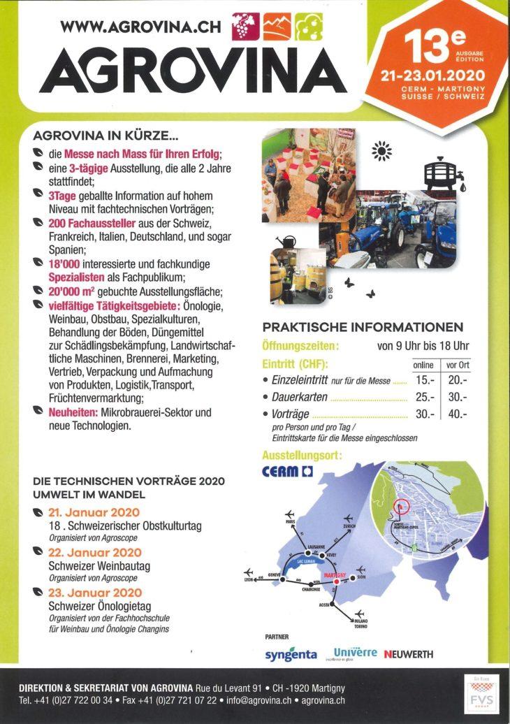 Flyer Agrovina 2020 Deutsch