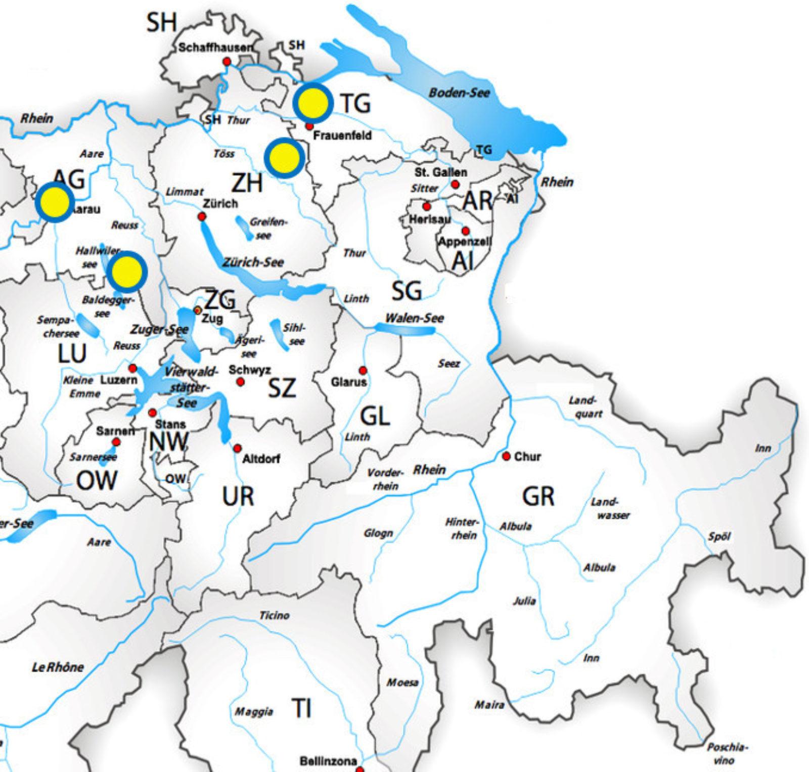 Stützpunkte Region Mittelland Ost