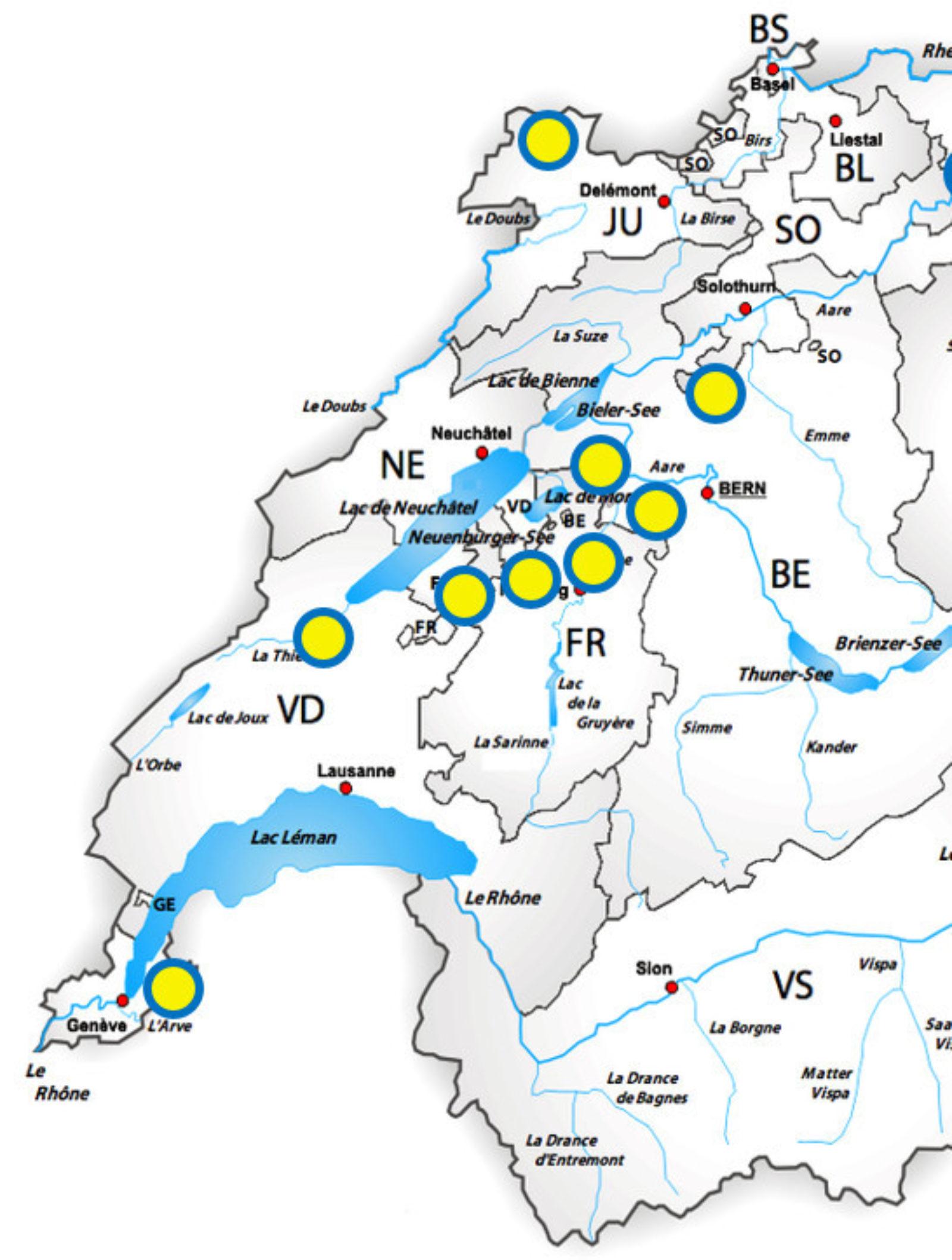 Stützpunkte Region Mittelland West